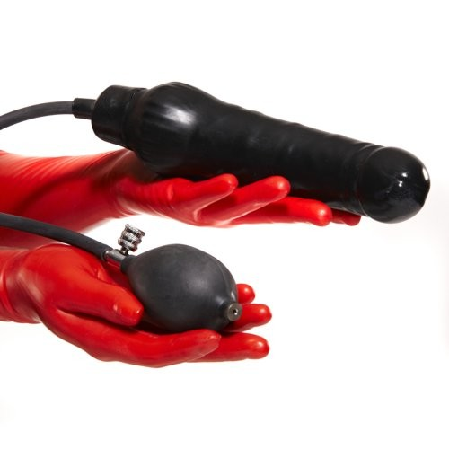 Inflatable Dildo 18x4,5 cm -  Black Rubber - Solid